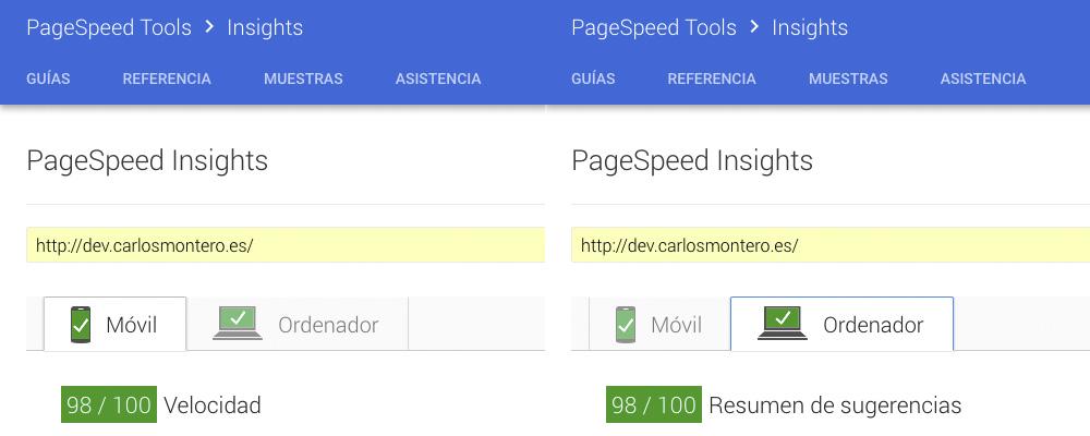 Puntuación de la página de inicio de dev.carlosmontero.es