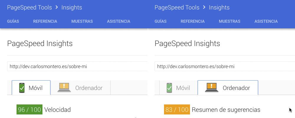 """Puntuación de la página de """"About"""" de dev.carlosmontero.es"""