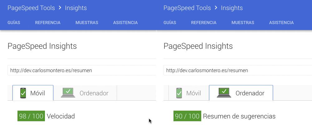 """Puntuación de la página de """"Resume"""" de dev.carlosmontero.es"""